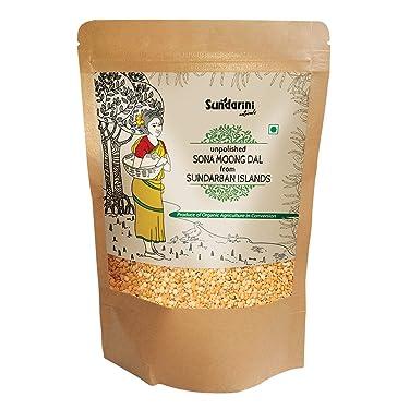 Sundarini Naturals - Glyphosate Free, Unpolished Sona Moong Dal From Sundarban Islands   Under Organic Certification   NABL Accredited Laboratory Tested   Chemical Pesticide & Herbicide Free   1 Kg Kraft Paper Pack