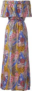 KMHZWomens Summer Dress Vintage Floral Print Maxi Short Sleeve and Sleeveless Long Dress for Summer Beach Party