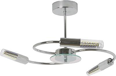 tp24 Ottawa 3,5 Watt 3 33 brazo lámpara de techo de acabado cromado y cristal perfila con LED tubo transparente