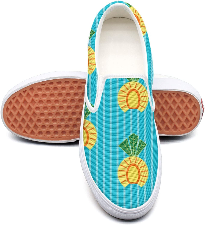SEERTED Pineapples bluee Stripes School Sneakers for Girls