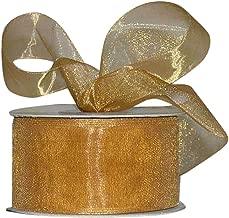Ribbon Bazaar Sheer Organza 1-1/2 inch Old Gold 100 Yards 100% Nylon Ribbon