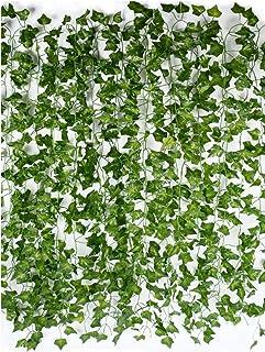 JCHummingbird, 24-Piece Strands UV Resistant Green Artificial Ivy Leaves( 7FT Long Piece), Fake Silk Flower Vine Garland f...