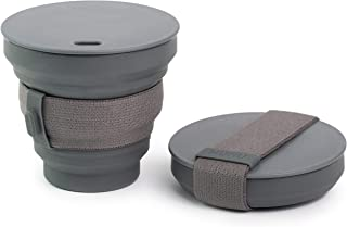 HUNU Collapsible Coffee Cup - Reusable and Portable Pocket-sized Silicone Cup with Lid - Leakproof and BPA Free - Reusable...