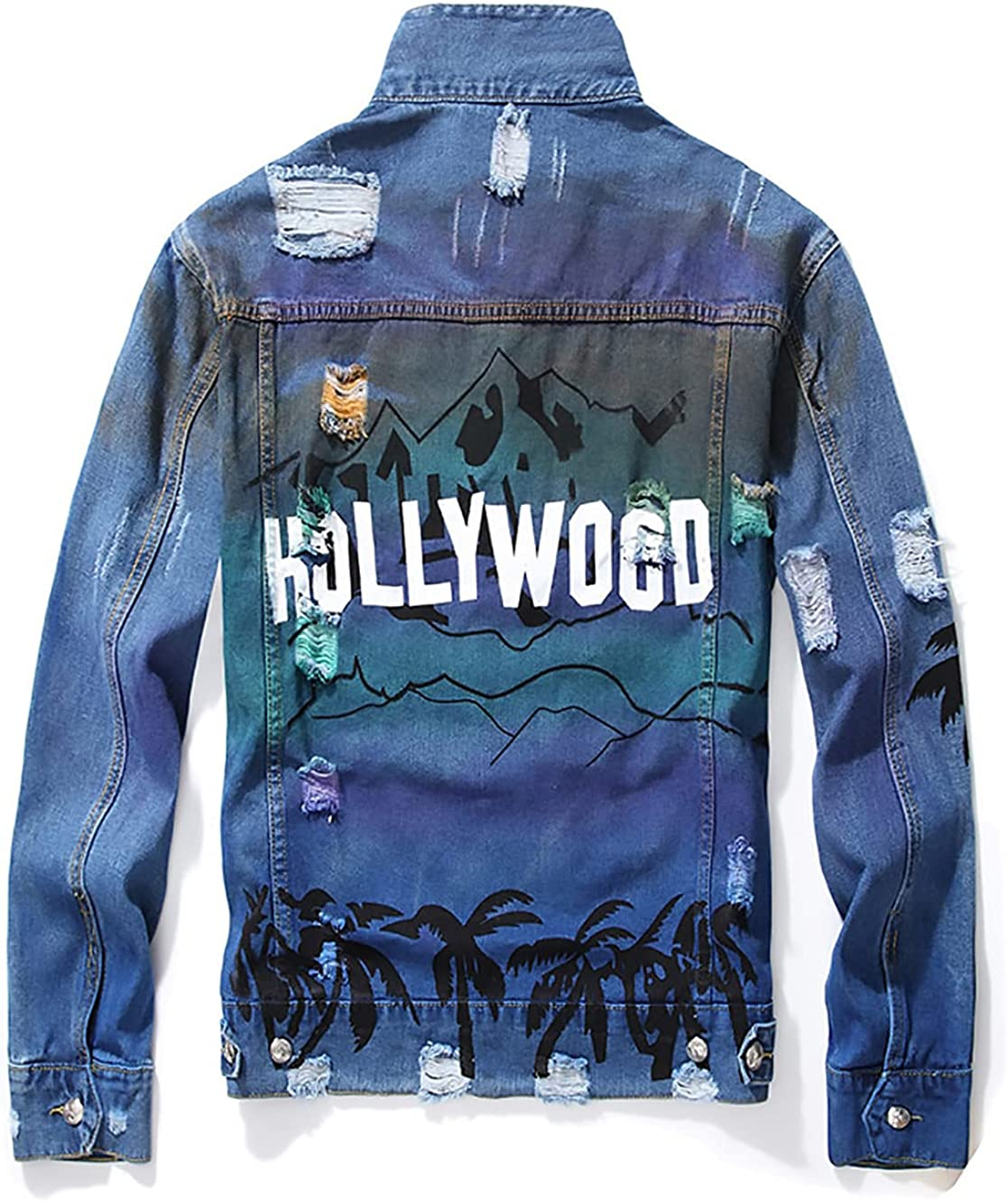 MENNARLEYOU Men's Ripped Denim Jacket Oakland Mall D Patch Paint Trendy Badge Don't miss the campaign