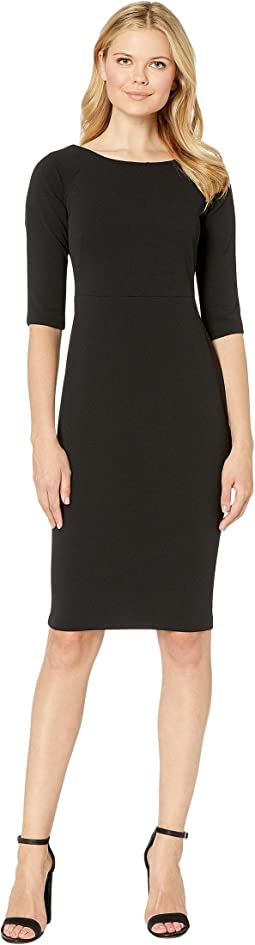 Solid Short Sleeve Sheath Dress