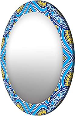 999Store Printed Blue and Yellow Pattern Round Mirror (MDF_17X17 Inch_Multi)