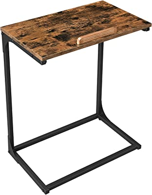VASAGLE End Table, Laptop Table, Side Table with Tilting Top, Steel Frame, for Living Room, Industrial Style, Rustic Brown and Black ULNT057B01