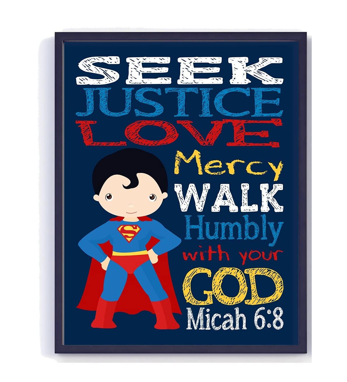 Superman Superhero Christian Nursery NEW before selling ☆ Decor Seek Unframed Print - Max 75% OFF