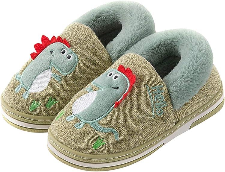 Kids Dinosaur Slippers Boys Girls House Slippers Cute Dinosaur Indoor Shoes Winter Warm Cotton Slipper Cozy Plush Home Slippers