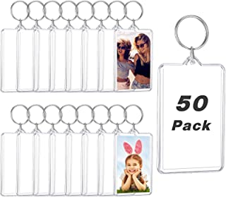 50 Pieces Acrylic Photo Frame Keychain, Personalized Insert Photo Acrylic Blank Keyring Clear Rectangle Blank Picture Keyr...