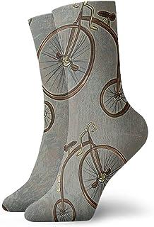 wwoman, Calcetines de vestir estampados para hombre y mujer Bicicleta Colorida Novedad Divertida Crazy Crew Calcetines 30 cm