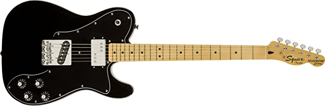 Squier by Fender Vintage Modified Telecaster Electric Guitar Deluxe - Black - Maple Fingerboard