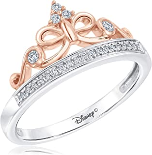 Enchanted Fine Jewelry Snow White Tiara Princess Ring 1/10ctw