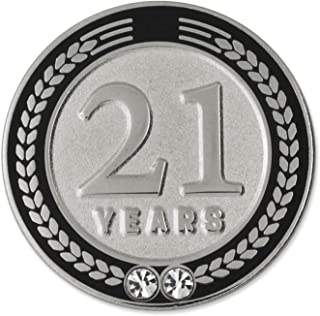 PinMart 21 Years of Service Award Employee Recognition Gift Lapel Pin - Black
