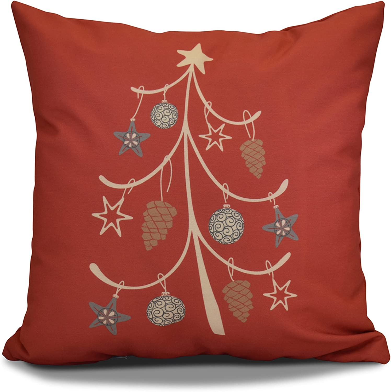 E by design PHGN651OR1516 16 x 16 inch, Decorative Holiday Pillow, Geometric Print, Coral