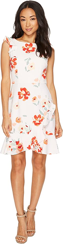 Donna Morgan Sleeveless Printed Crepe with Ruffle Skirt