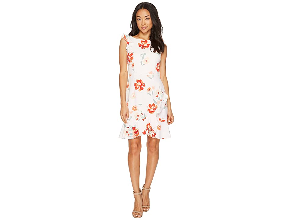 Donna Morgan Sleeveless Printed Crepe with Ruffle Skirt (Pale Pink/Coral Multi) Women
