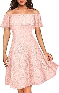 Kidsform Abendkleid Damen Spitzenkleid Schulterfreies Partykleid Elegant Vintage Cocktail Brautkleider für Hochzeit Ballkleid