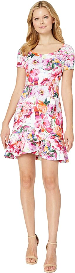 Scoop Neck Cap Sleeve Floral Dress