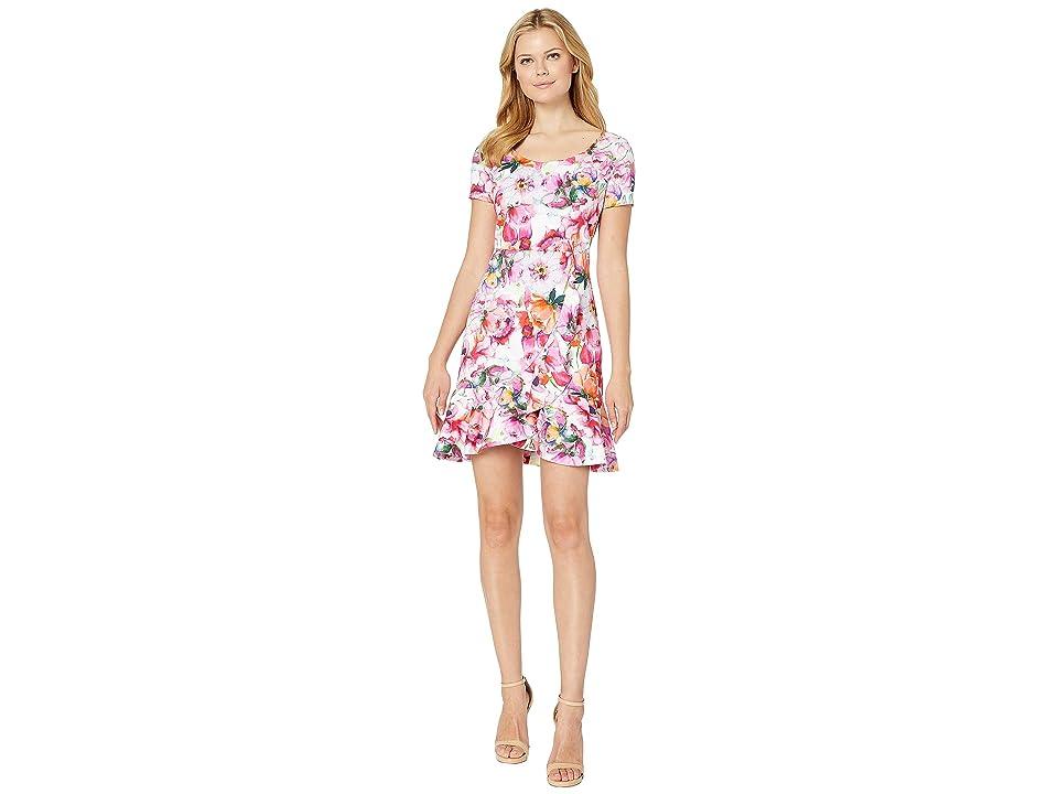 ALEXIA ADMOR Scoop Neck Cap Sleeve Floral Dress (Pink Multi) Women
