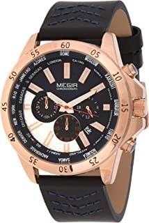Megir Mens Quartz Watch, Chronograph Display and Leather Strap - 2103G