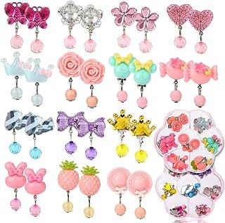 کلیپ Hifot 14 جفت در گوشواره های دخترانه ، بدون گوشواره های طراحی سوراخ شده پیراستن قبل از پرنسس بازی لوازم جانبی جواهرات برای کودکان