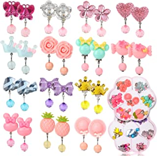 Hifot 14 Pairs Clip on Earrings Girls, No Pierced Design Earrings Dress up Pretend Princess Play Jewelry Accessories for Kids