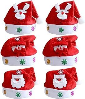 Vococal Sombrero de Santa[6PCS], Santa Hat Unisex Linda Claus Cap Sombrero para Xmas Adulto