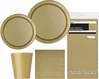 Unique Party 63827 63827-Gold Party Supplies Kit for 8, Gold, Pack of 1