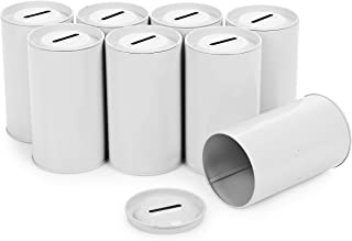 Cylinder Tin Charity Donation Coin Collection Tube Ticket and Suggestion Box Tip Canister with Removable Top (8 Pack)