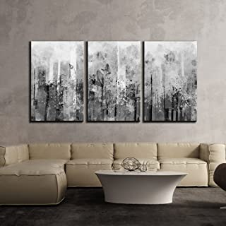 wall26 3 Piece Canvas Wall Art - Abstract Black and White Splash Artwork - Modern Home Decor Stretched and Framed Ready to Hang - 24