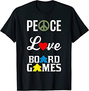 Peace Love Board Games with Peace Sign Heart Meeple T-shirt