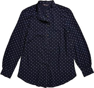 Marks & Spencer Women's Cotton Polka Dot Long Sleeve Blouse, NAVY MIX