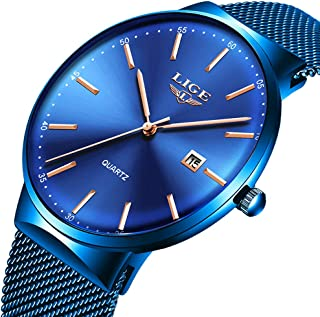 Mens Watches Ultra-Thin Waterproof Stainless Steel Mesh Wrist Watches Business Dress with Date Analog Quartz Watch Man