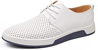 ZZHAP Men's Casual Oxford Shoes Breathable Flat Fashion Sneakers White Size: 9
