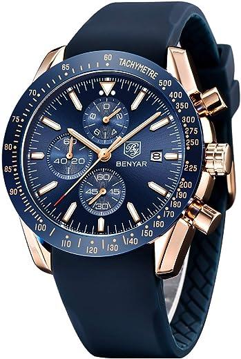 Elegante orologio benyar uomo analogico al quarzo impermeabile colore blu scuro