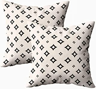 Shorping Soft Pillow Case, Zippered Pillowcases 18X18Inch 2 Pack Throw Pillow Covers Geometric Texture Small Diamond Shapes Outline for Home Sofa