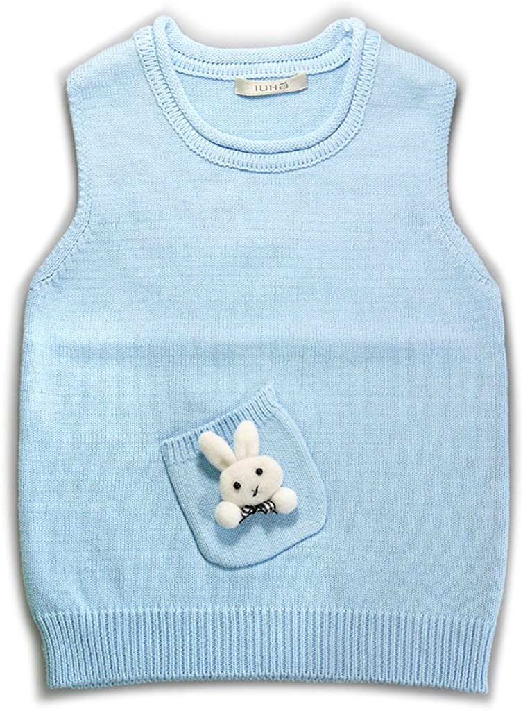 IUHA Cute Rabbit Decoration Sweater Blue Girls Vests Cotton Product Ranking TOP20