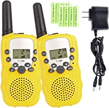 Kids Walkie Talkies with Rechargeable Battery , 22 Channel FRS/GMRS Two Way Radio Up to3KM UHF Handheld Walkie Talkies for Children (1 Pair) (Yellow)