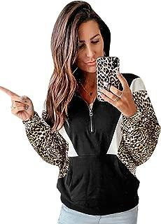 Women's Casual Color Block Long Sleeve 1/4 Zip Pullover Loose Lightweight Tops Sweatshirts with Pocket