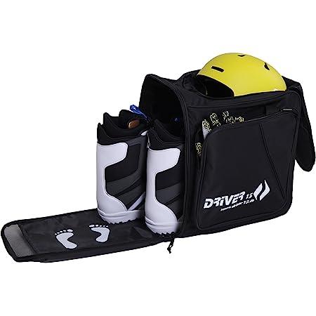 Driver13 ® mochila para botas de esquí con compartimento para casco + mochila para botas de esquí con compartimento para casco para botas duras + botas de snowboard + forro interior + bolsa para botas negro