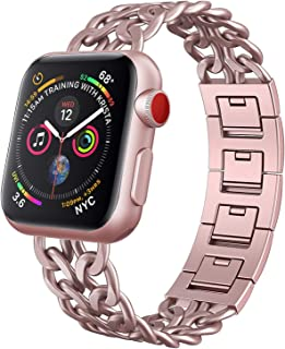 NO1seller Top Band Compatible for Apple Watch Series 5 4 40mm 44mm Series 3 2 1 38mm 42mm Women Men,Cowboy Stainless Steel Metal Replacement Accessories Bling Jewelry iWatch Wristband Strap Bracelet