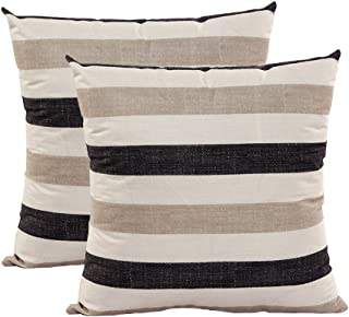 U-LOVE 2PACK Stripe Throw Pillow Cases Supersoft Square Decorative Cushion Covers 18 X 18 Inches (Stripe 001)