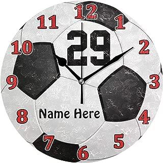 MIKA 名前および数を用いるパーソナライズなサッカー 時計 クロック 壁掛け 掛け時計 かけ時計 壁掛け時計 インテリア 家具 おしゃれ オシャレ お洒落 デザイン 連続秒針