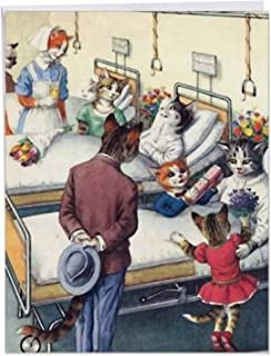 Crazy Cats' Big Get Well Card Soon with Envelope 8.5 x 11 Inch - Vintage Drawing, Cat Families and Kittens in Hospital Ward, Stationery Set for Personalized Message and Get Well Greeting J6109GWG