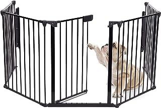 ペットゲート ストーブガード ベビーゲート サークル ハースゲート 子供 安全ゲート 育児用品 おくだけ 玄関 階段 ドア付 自由に組み合わせ 多用途 5面セット