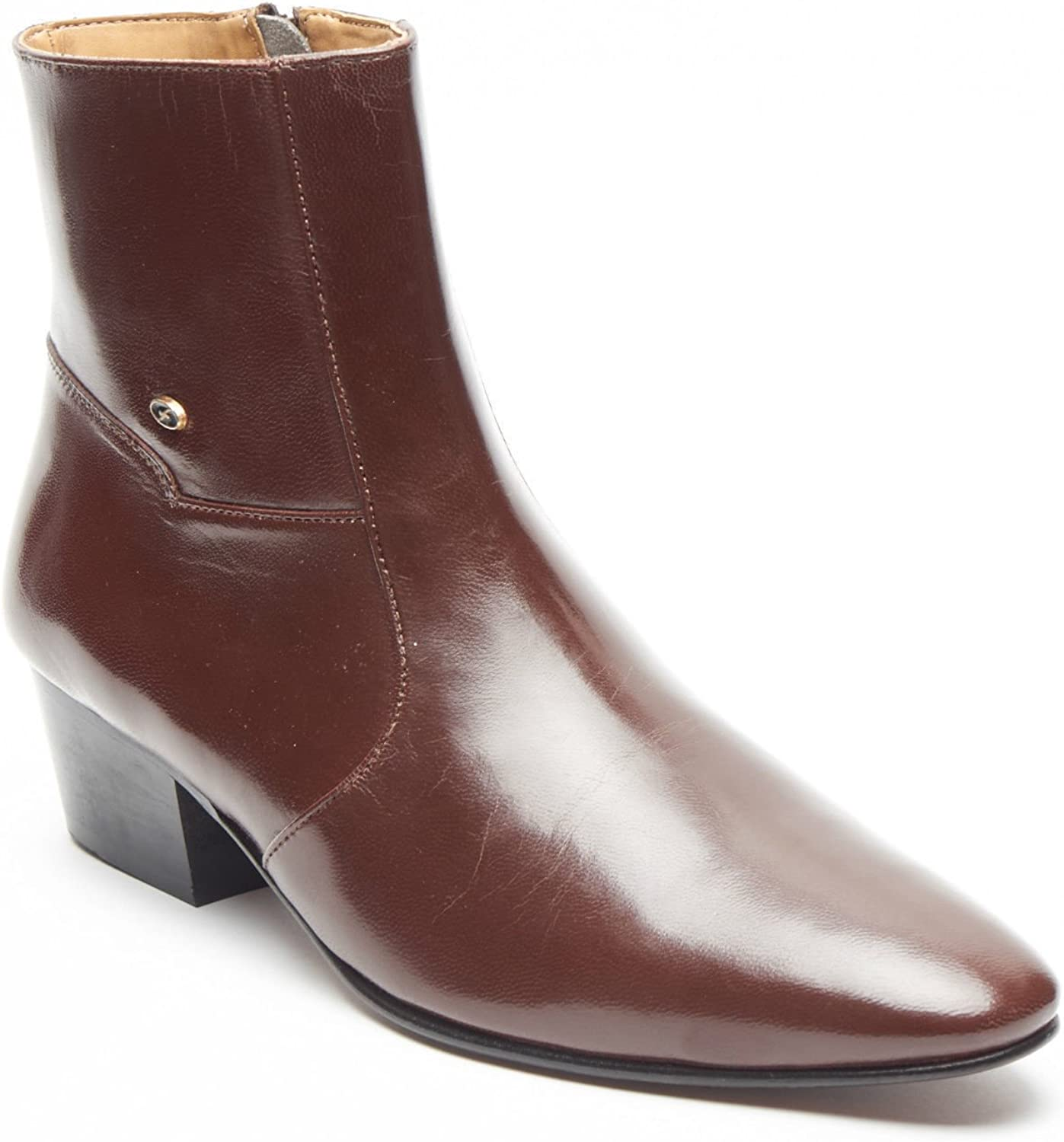 Lucini Ankle Boots Heel Men Leather Brown Wedding Office