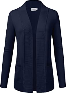 Women's Open Front Knit Long Sleeve Pockets Sweater Cardigan Navy 1XL