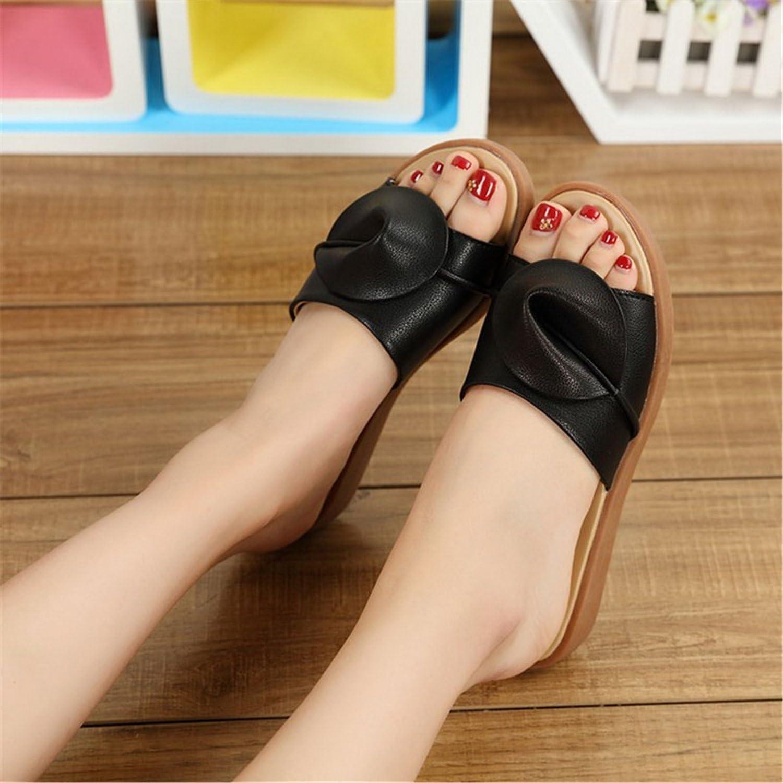 Joddie Haha Sandals Summer Slippers Women Flat Sandals shoes Leisure Slippers Slip-On Round Toe Genuine Leather Sandals Flip Flops 6539