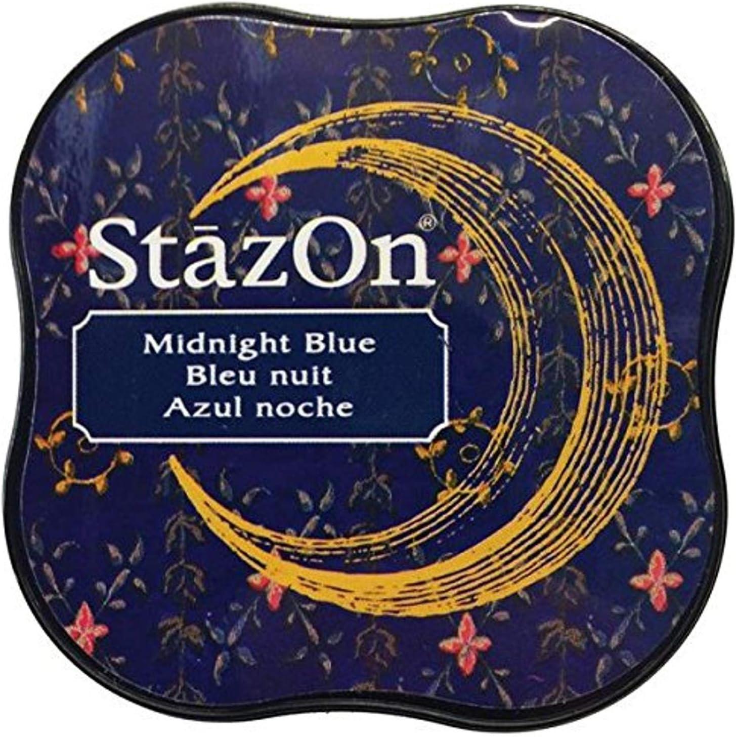 Tsukineko StazOn Midi Ink Blue Max 74% OFF Ranking TOP1 Midnight Pad